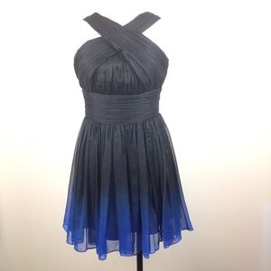 HALSTON HERITAGE  Black Blue Ombre Pleated Dress 2